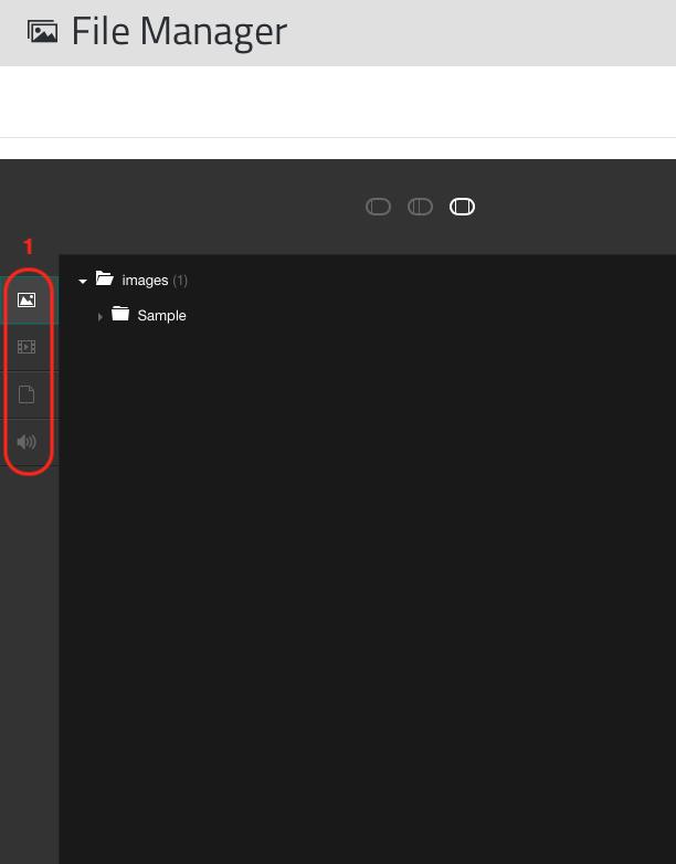 Barra dei filtri di File Manager