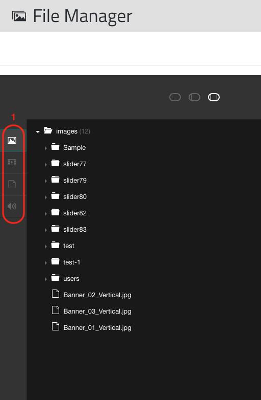 File Manager's filter bar