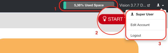 Cloud's space indicator, guided Tour & User menu