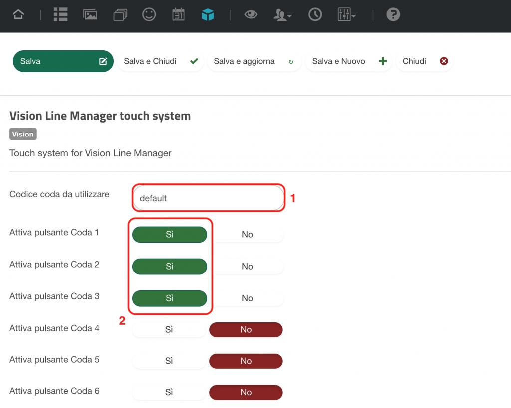 Configurazione Modulo Vision Line Manager touch system